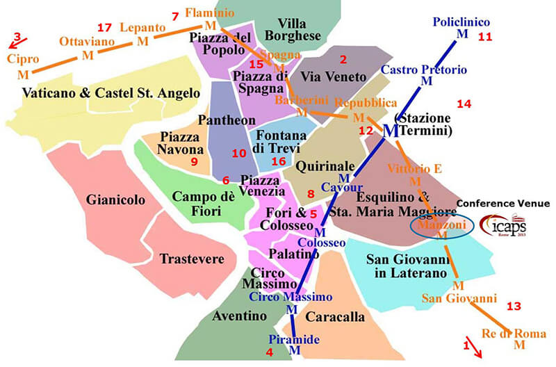 Mapa de bairros em Roma