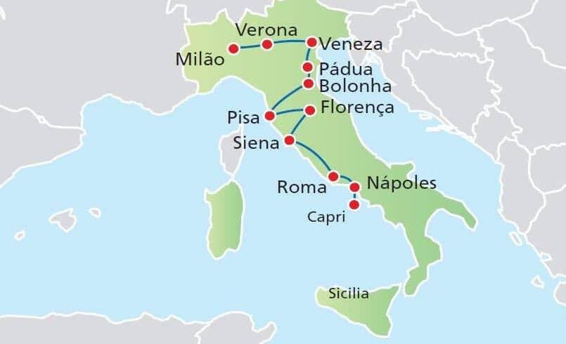 Mapa com rota de carro para viajar pela Itália