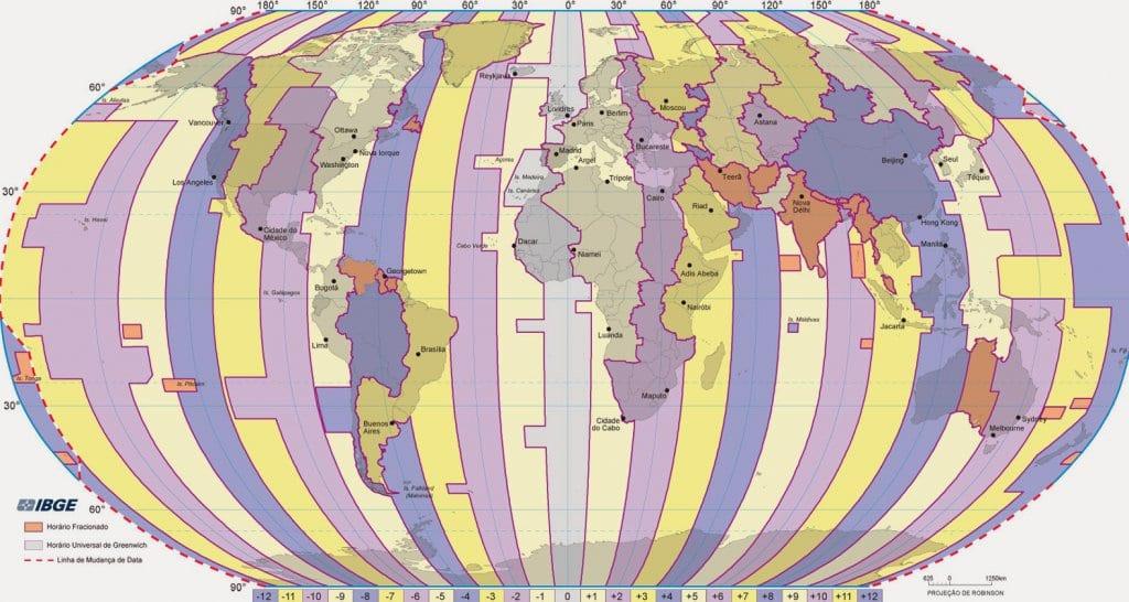 Mapa Mundial de fuso horário