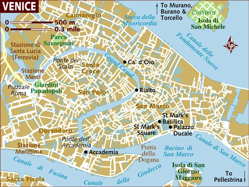 Mapa detalhado da Ilha de Veneza