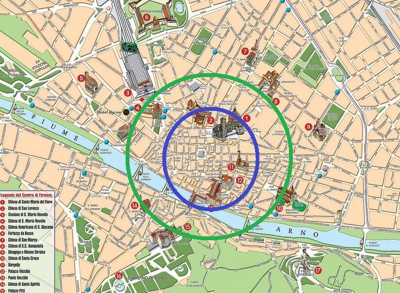 Mapa das regiões de Florença