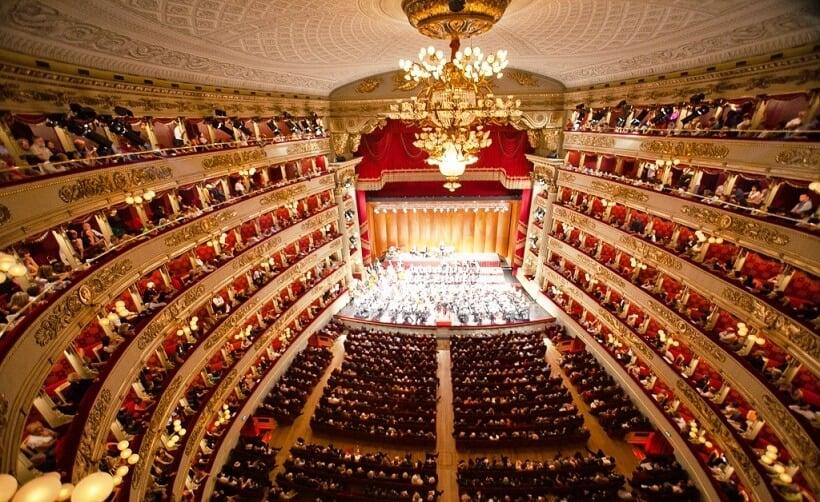 Interior do Teatro Alla Scala em Milão