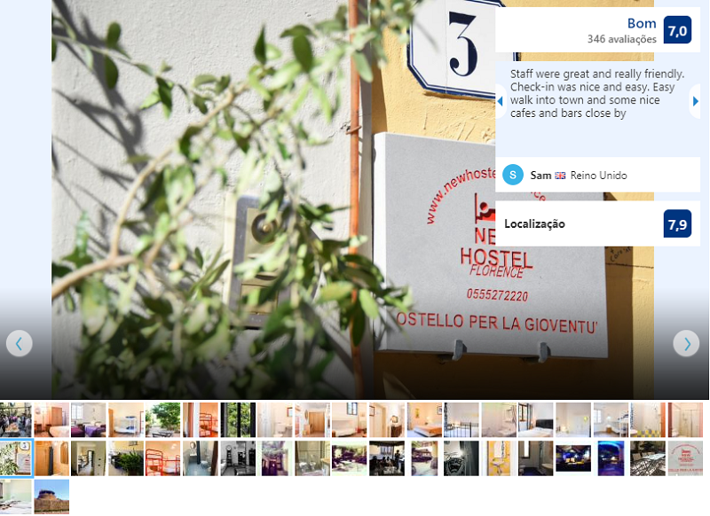 Entrada do New Hostel Florence em Florença