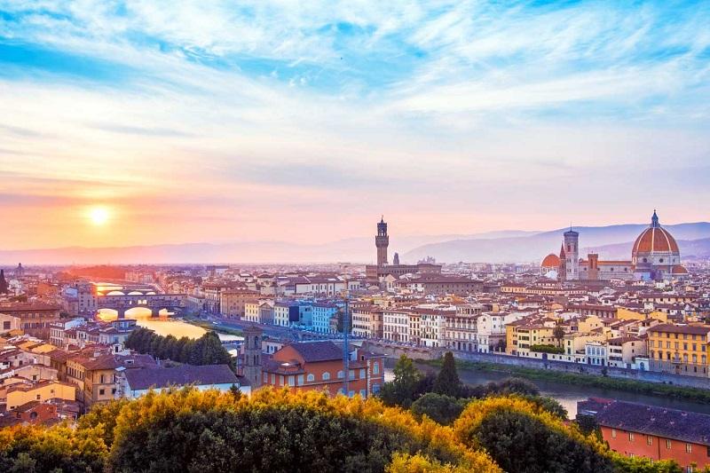 Vista da cidade de Florença ao entardecer