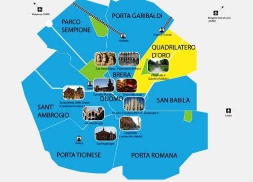 Regiões de Milão na Itália