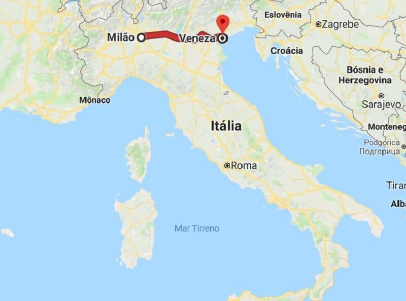 Mapa da viagem de Milão para Veneza