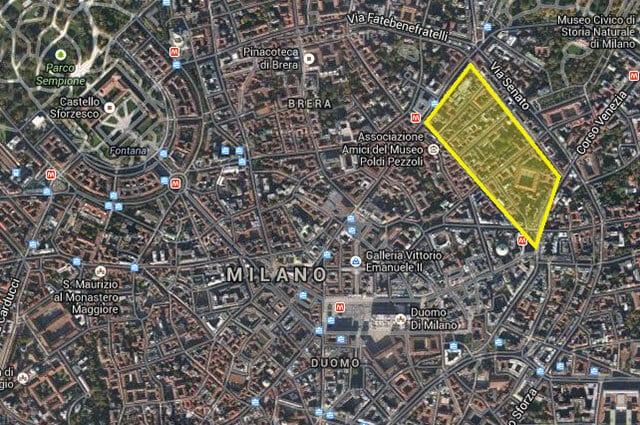 Quadrilátero de ouro em Milão