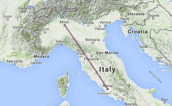 Viagem de trem de Milão a Roma