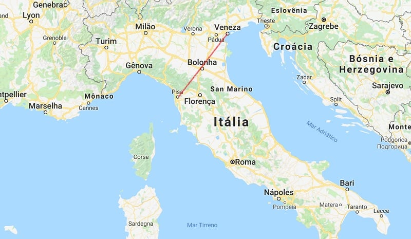 Mapa da viagem de Veneza a Pisa