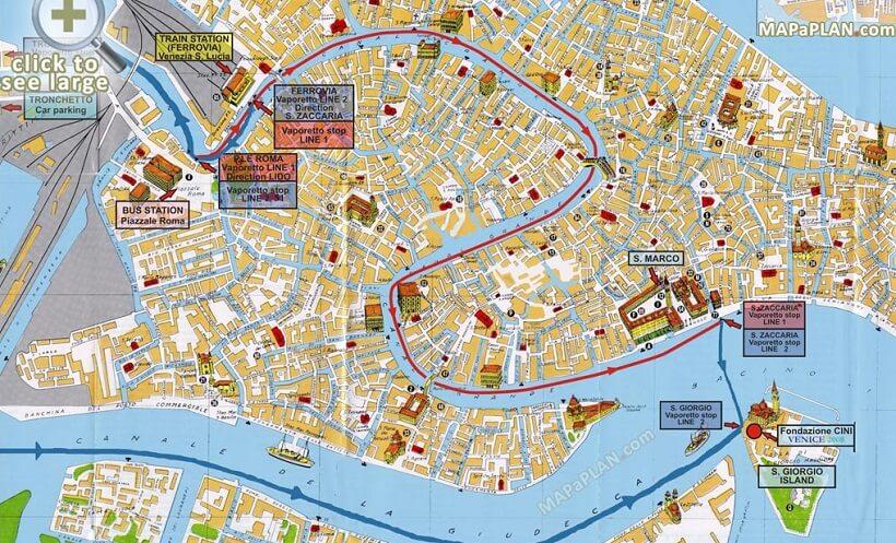 Mapa de atrações em Veneza