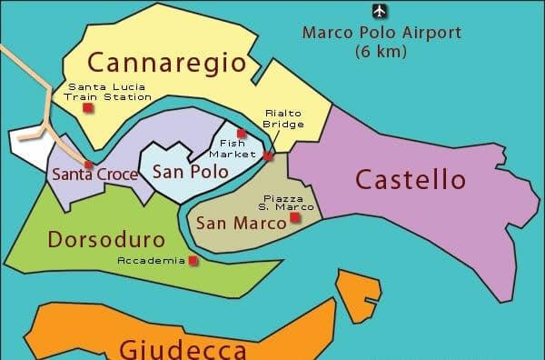 Mapa de Veneza para compras