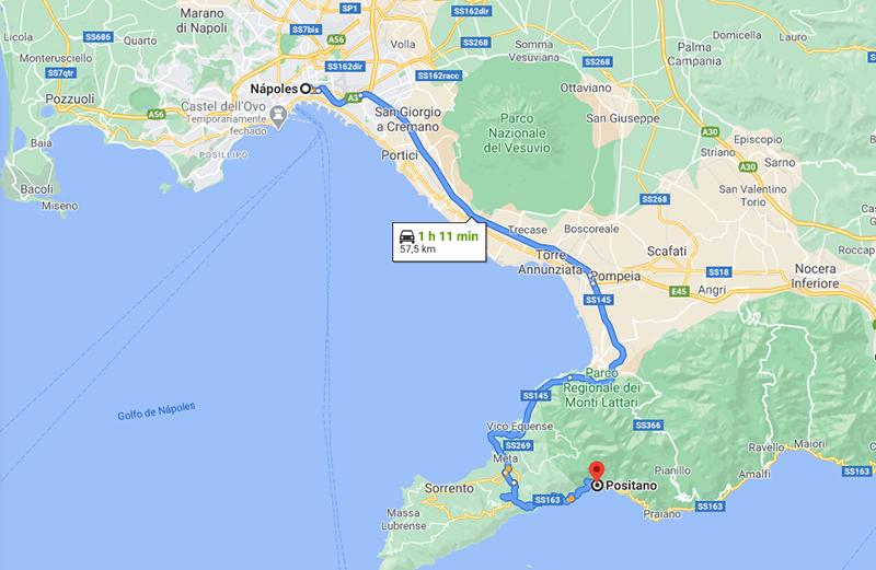 Mapa entre Nápoles e Positano