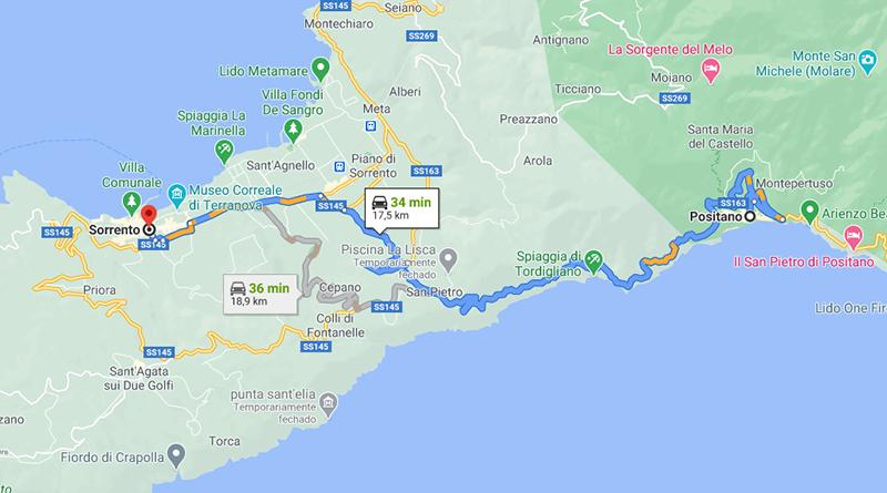 Mapa com trajeto entre Positano e Sorrento