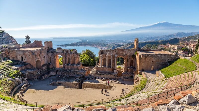 Teatro Grego em Sicília na Itália