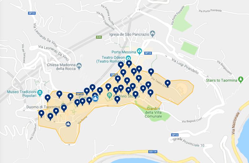 Mapa de hotéis em Taormina