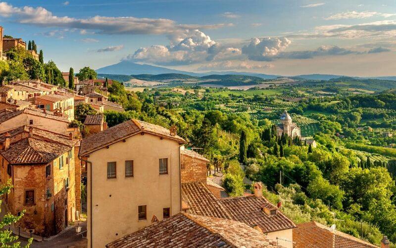 Vista da região da Toscana na Itália