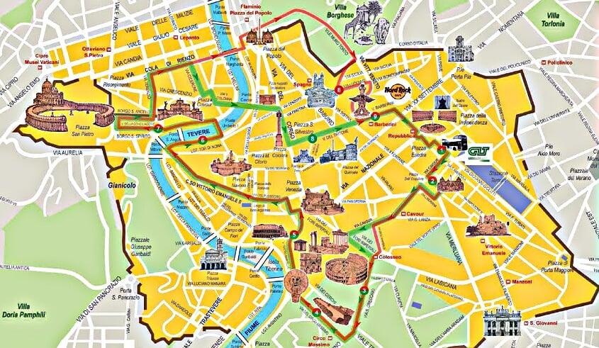 Mapa que mostra o percurso dos ônibus turísticos em Roma