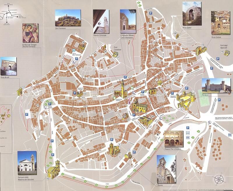 Mapa mostrando as principais atrações de Montalcino