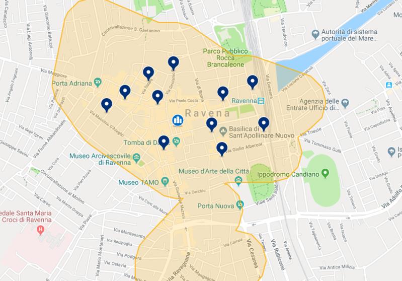 Mapa de hotéis em Ravena
