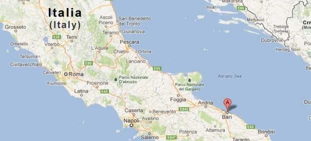 Mapa que mostra a localização de Bari na Itália