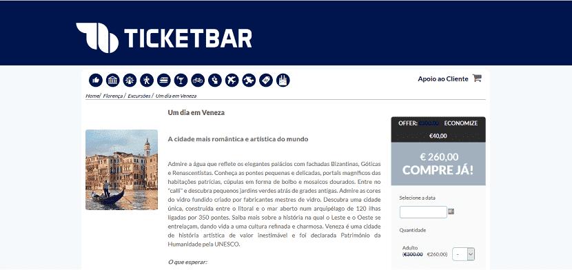 Ticketbar para ingressos para um tour de um dia em Veneza