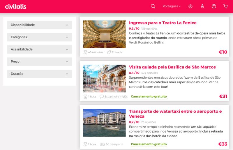 Civitatis para ingressos em Veneza