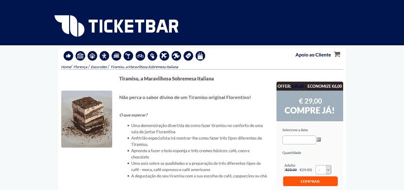 Ticketbar para ingressos para uma demonstração de tiramisu