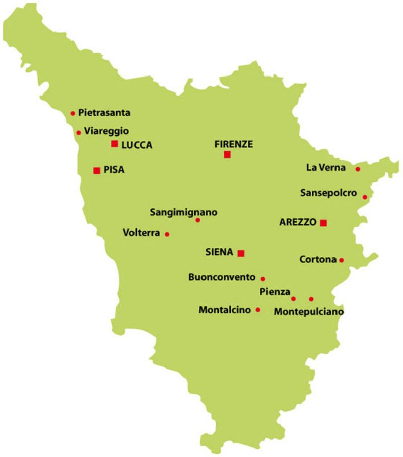 Mapa mostrando Pienza, Montalcino e Montepulciano