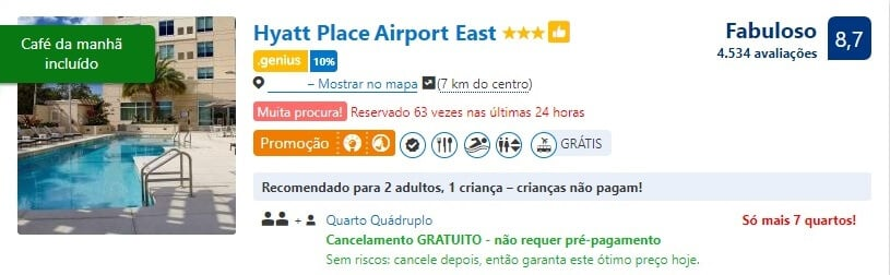 Cancelamento de hotel gratuito pelo Booking