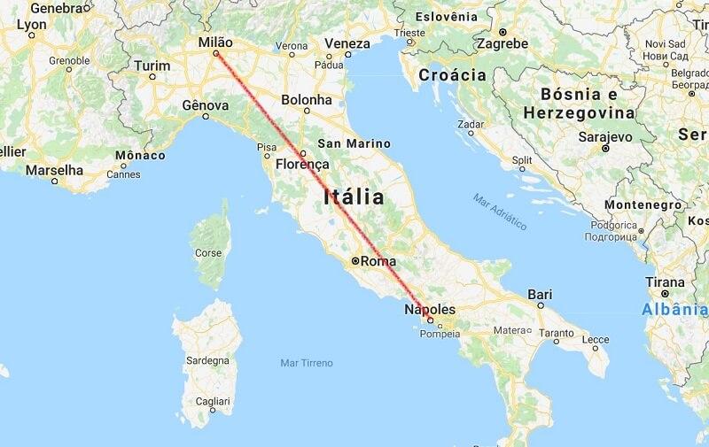 Mapa da viagem de Nápoles a Milão
