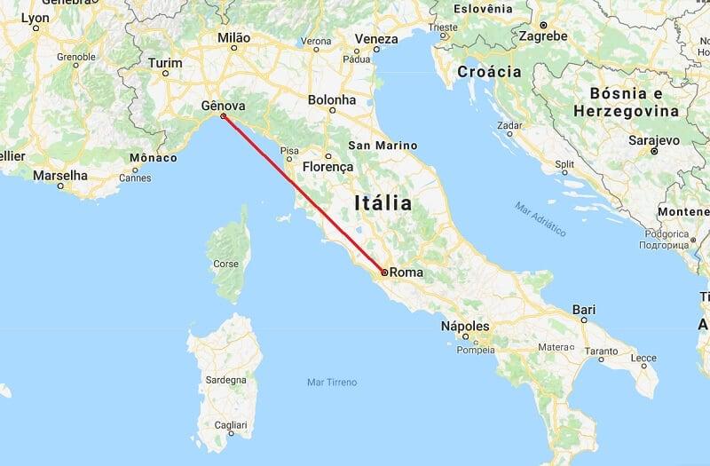 Mapa da viagem de Roma a Génova