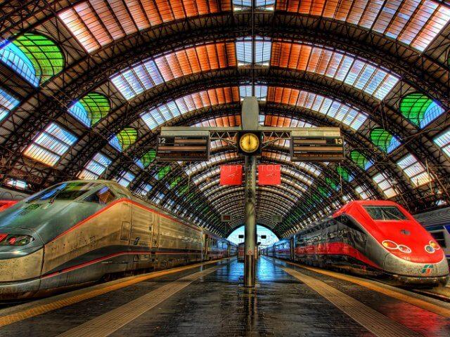 Viagem de trem de Veneza a Milão