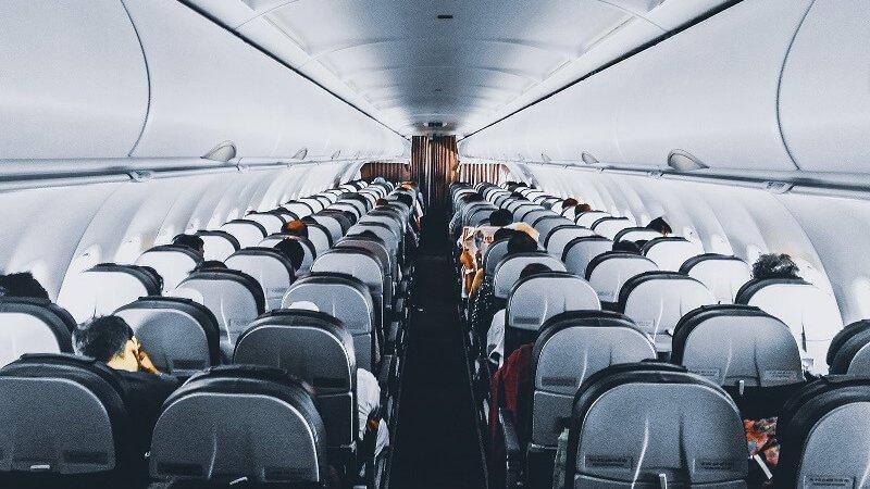 Interior do avião em Florença
