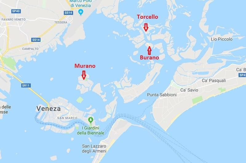 Mapa das ilhas próximas de Veneza