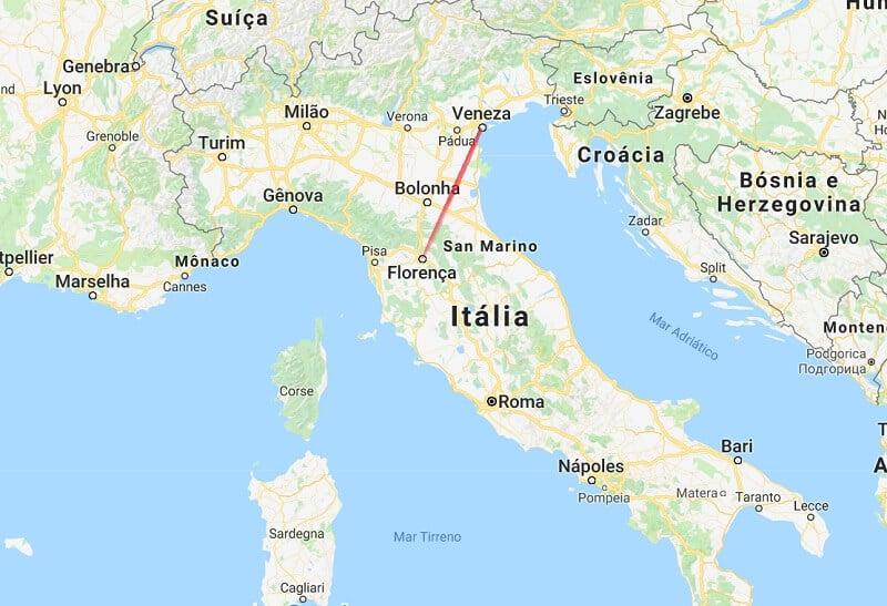 Mapa da viagem de Veneza a Florença