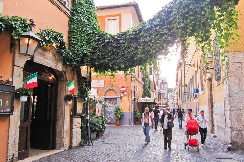 Rua Trastevere em Roma