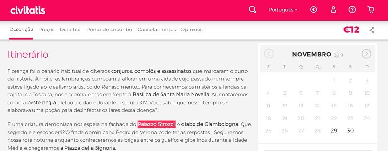 Civitatis para ingressos para tour de mistérios e lendas por Florença