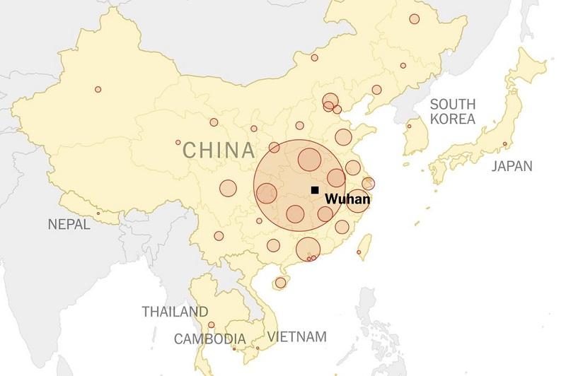 Mapa que mostra a cidade de Wuhan na China