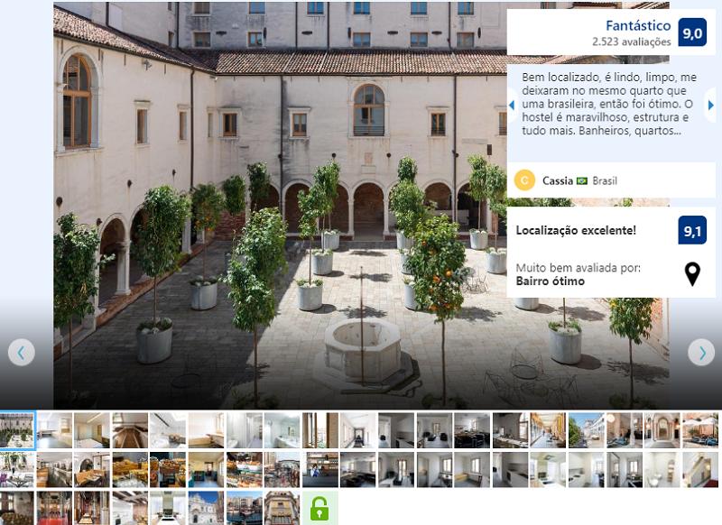 Área externa do Hostel Combo Venezia em Veneza