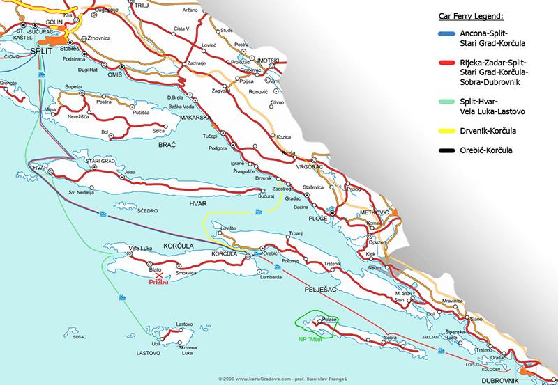 Mapa de rotas de ferries entre Itália e Croácia