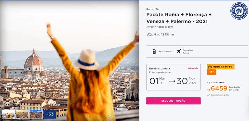 Pacote Hurb para Roma + Florença + 2 cidades por R$ 6.459