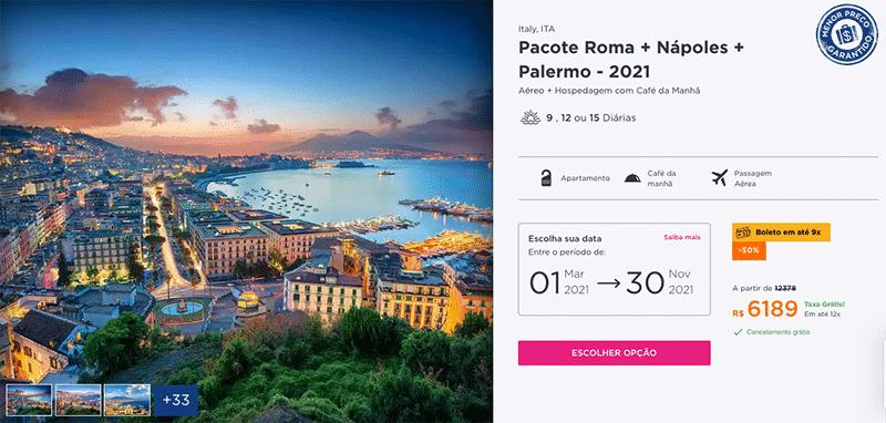 Pacote Hurb Roma + Nápoles + Palermo por R$ 6.819