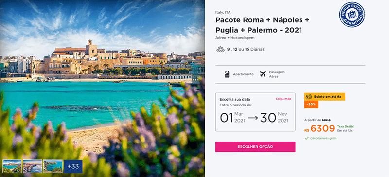 Pacote Hurb Roma + Nápoles + Puglia + Palermo