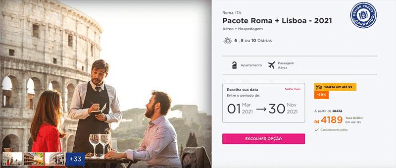 Pacote Hurb para Roma + Lisboa por R$ 4.189