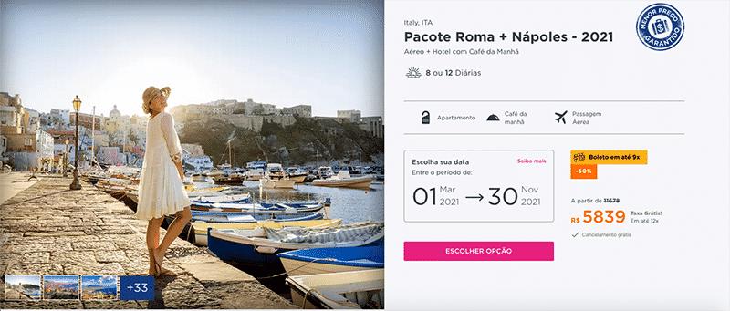 Pacote Hurb para Roma + Nápoles por R$ 5.839