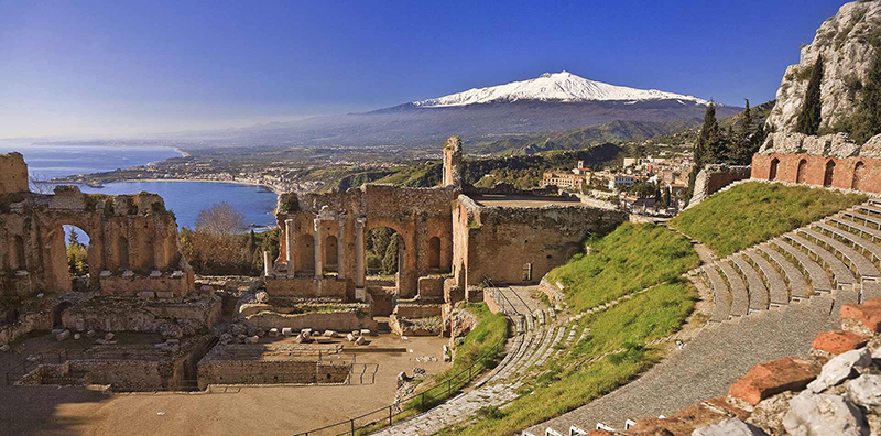 Vista da ilha de Sicília na Itália