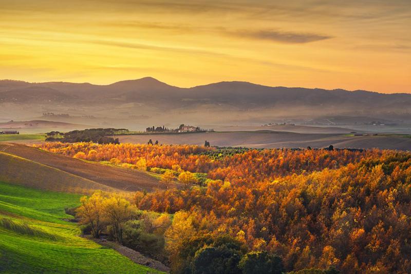 Campos da Toscana no outono