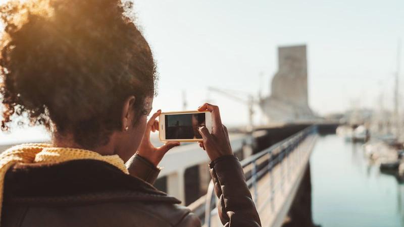 Tirando foto em Veneza